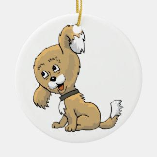 Perrito que escucha adorno navideño redondo de cerámica