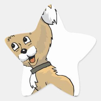 Perrito que escucha pegatina en forma de estrella