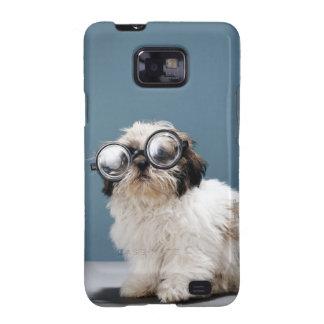 Perrito que lleva los vidrios gruesos samsung galaxy s2 carcasas