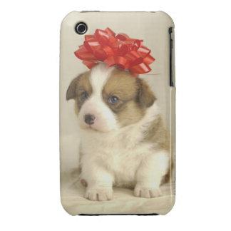 Perrito que lleva un arco rojo iPhone 3 Case-Mate protector