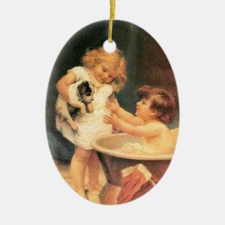 Perrito que toma un baño adorno navideño ovalado de cerámica