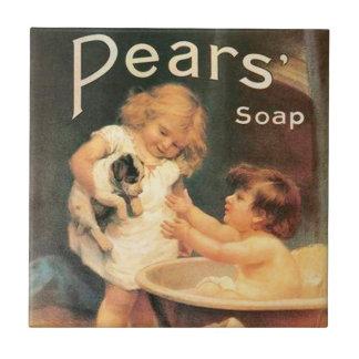 Perrito que toma un baño azulejo cuadrado pequeño