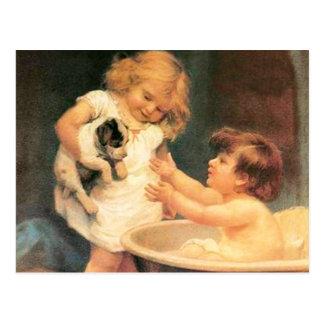 Perrito que toma un baño postal