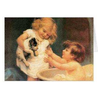 Perrito que toma un baño tarjeta de felicitación