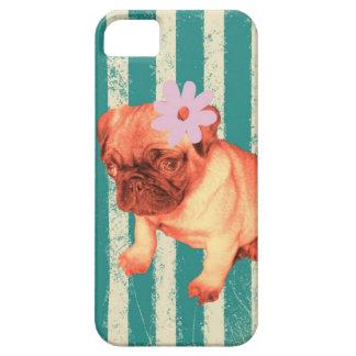 perrito retro verde lindo del barro amasado de las funda para iPhone 5 barely there