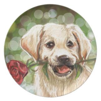 Perrito romántico platos para fiestas