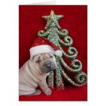 Perrito shar chino del pei del navidad tarjeta de felicitación
