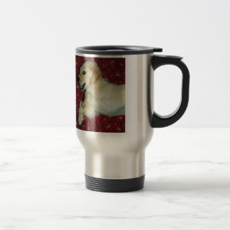 Perrito sonriente del golden retriever tazas de café