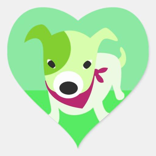 Perrito verde con el pañuelo pegatina en forma de corazón