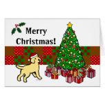 Perrito y árbol de navidad amarillos del tarjetón