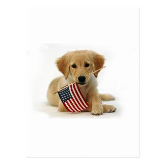Perrito y bandera del golden retriever postales