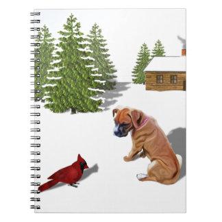 Perrito y cardenal del boxeador libros de apuntes