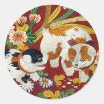 Perrito y flor japoneses del vintage pegatina redonda