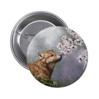 Perrito y flores de lobo pin redondo 5 cm