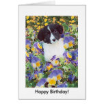 ¡Perrito y flores, feliz cumpleaños del border col Tarjeta
