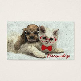 Perrito y gatito de moda divertidos adorables lind tarjetas de visita
