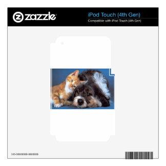 Perrito y gatito del Snuggle iPod Touch 4G Skins