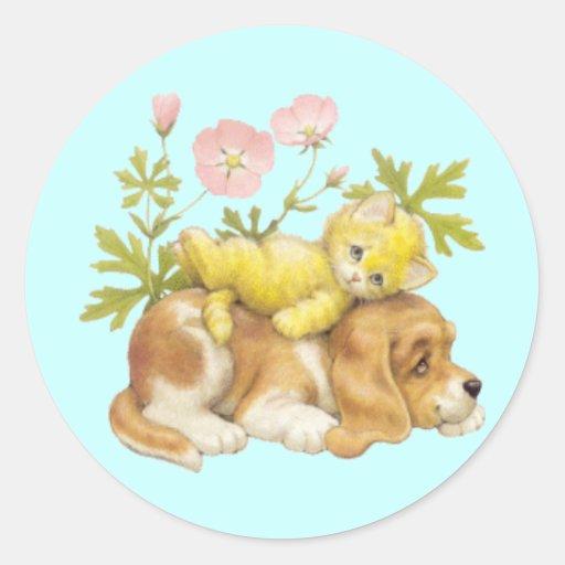 Perrito y gatito lindos pegatina redonda