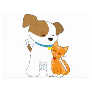 Perrito y gato lindos postal