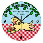 Perrito y hamburguesa amarillos de Labrador Relojes