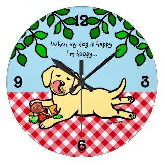 Perrito y hamburguesa amarillos de Labrador Reloj Redondo Grande