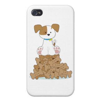 Perrito y huesos lindos iPhone 4 carcasas