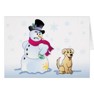 perrito y muñeco de nieve amarillos del laboratori tarjeta de felicitación
