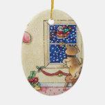 perrito y ornamento lindos del navidad de santa ornamento de navidad