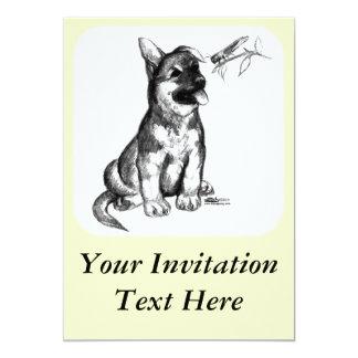"""Perrito y saltamontes invitación 5"""" x 7"""""""