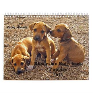 Perritos 2013 de Rhodesian Ridgeback Calendario