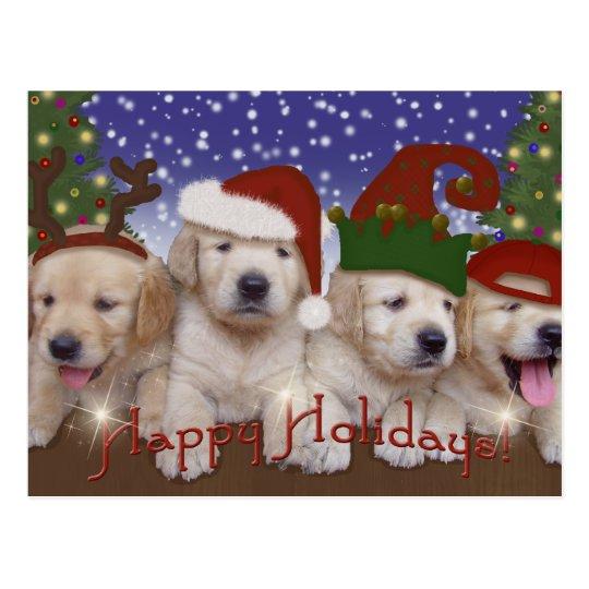 ¡Perritos adorables de Labrador del navidad! Postal