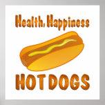 Perritos calientes de la felicidad de la salud impresiones