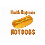 Perritos calientes de la felicidad de la salud postal