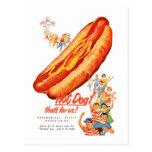 ¡Perritos calientes del vintage del kitsch para Postal