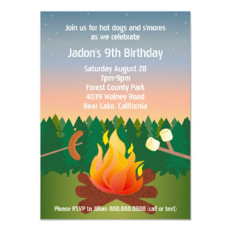"""Perritos calientes y fiesta de cumpleaños de la invitación 4.5"""" x 6.25"""""""