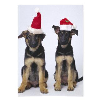 """Perritos con los gorras de santa invitación 5"""" x 7"""""""