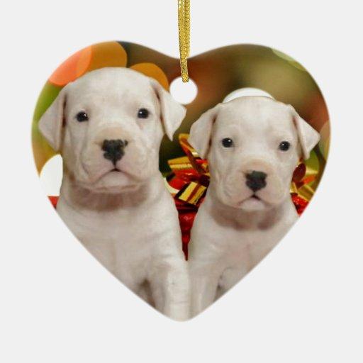 Perritos de Argentina Dogo del navidad Adorno Navideño De Cerámica En Forma De Corazón