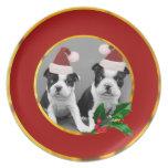 Perritos de Boston Terrier del navidad Platos De Comidas