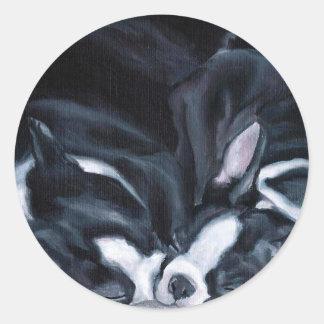 Perritos de Boston Terrier Pegatina Redonda