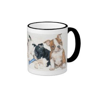 Perritos de Boston Terrier Taza De Dos Colores