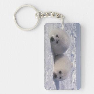 Perritos de foca de Groenlandia de la foca de Llavero Rectangular Acrílico A Doble Cara