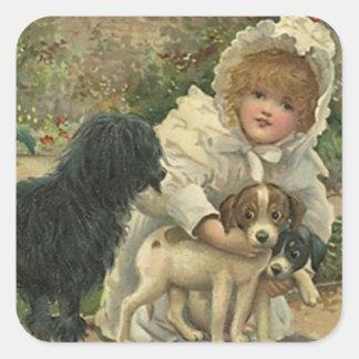 Perritos de los perros de parásitos del ahorro del pegatina cuadrada