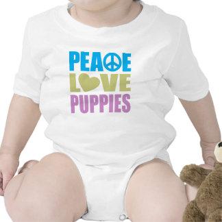 Perritos del amor de la paz traje de bebé