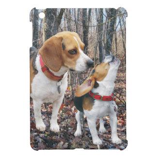Perritos del beagle en las maderas