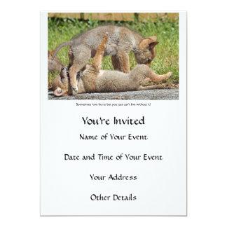 """Perritos del coyote que muerden y que juegan invitación 5"""" x 7"""""""