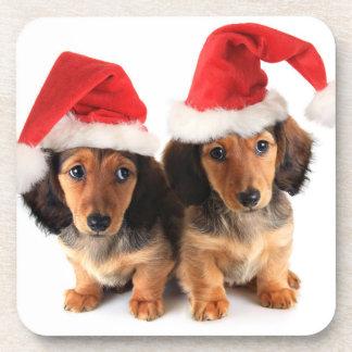 Perritos del Dachshund del navidad que llevan los Posavaso