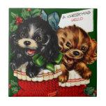 Perritos del navidad hola azulejo