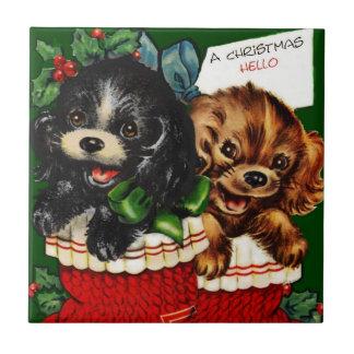 Perritos del navidad hola azulejo cuadrado pequeño
