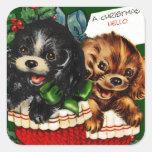 Perritos del navidad hola calcomanía cuadradas personalizadas