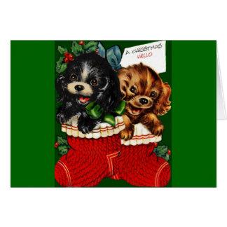 Perritos del navidad hola tarjeta de felicitación